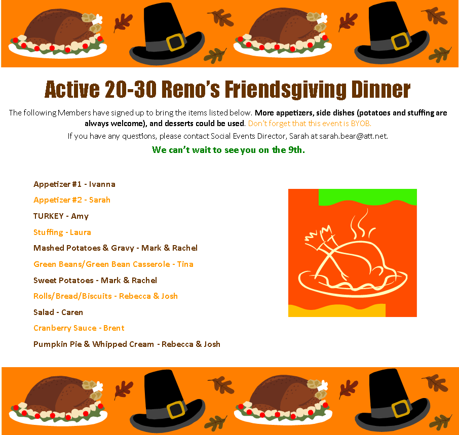 Friendsgiving Dinner | Active 20-30 Club of Reno